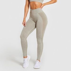 Gymshark high waist flex leggings khaki marl Small
